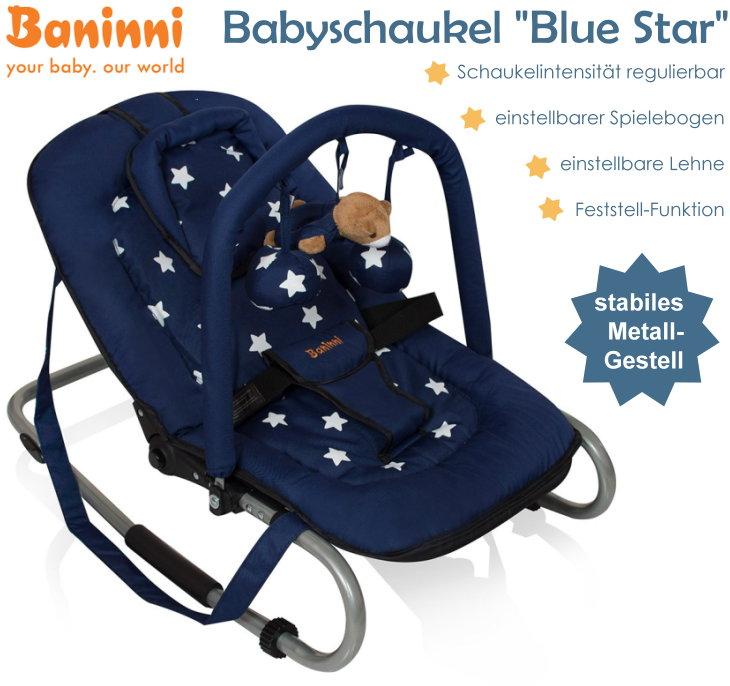baninni babyschaukel babywippe verstellbare r ckenlehne spielebogen blau stabil ebay. Black Bedroom Furniture Sets. Home Design Ideas