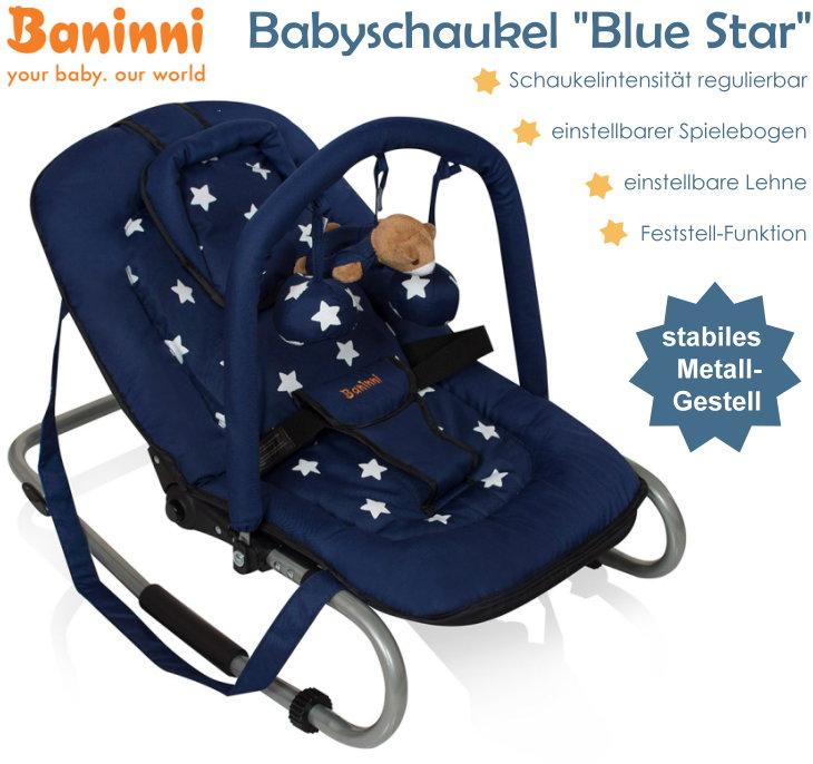 baninni babyschaukel babywippe verstellbare r ckenlehne spielebogen blau stabil ebay. Black Bedroom Furniture Sets. Home Design Ideas