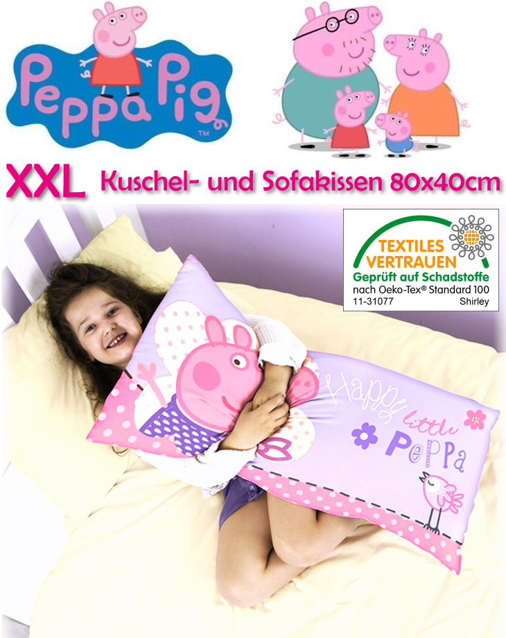 kinder kuschelkissen sofakissen xxl peppa wutz 80x40cm mikrofaser dekokissen neu 5055285404925. Black Bedroom Furniture Sets. Home Design Ideas