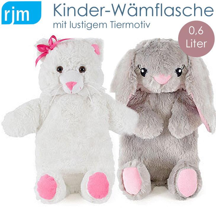 Kinder Wärmflasche mit Stoffbezug Hase Eisbär