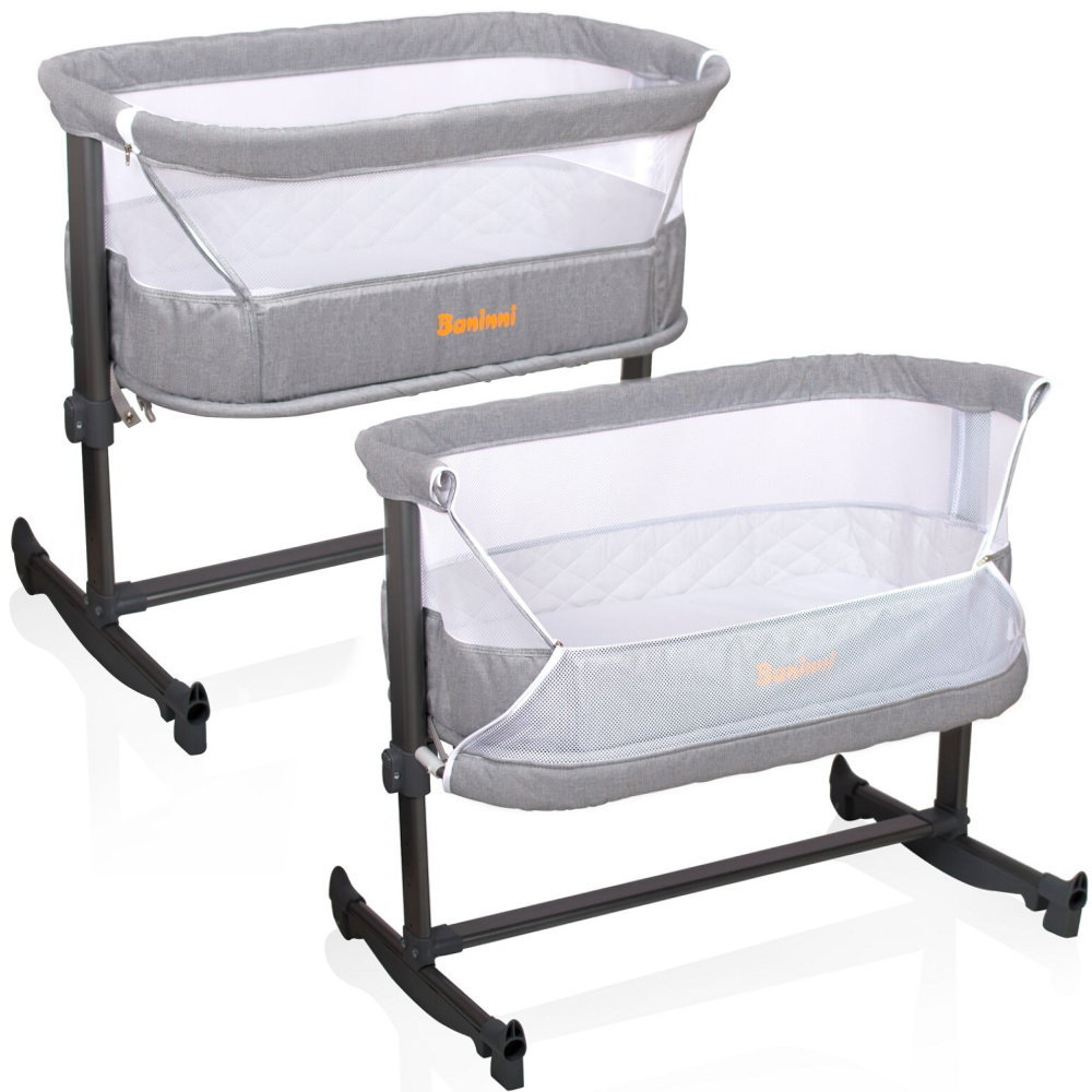 Baninni: Baby Beistellbett Babybett Nesso Verstellbar (GRAU