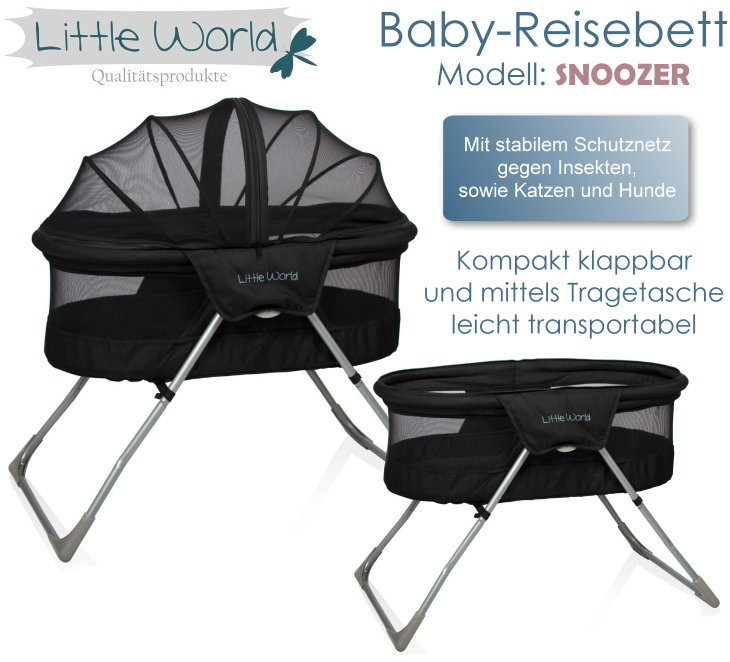 baby kinder reisebett beistellbett babybett snoozer schwarz moskitonetz matratze ebay. Black Bedroom Furniture Sets. Home Design Ideas