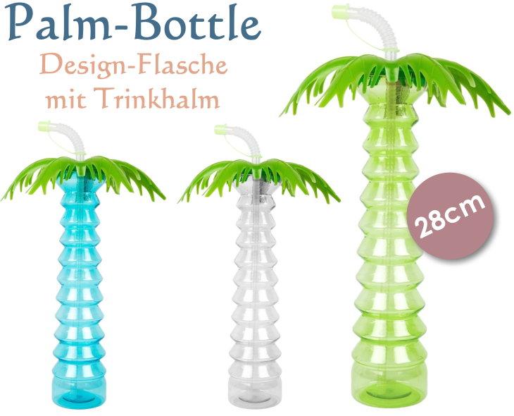 Flasche im Palmendesign mit Trinkhalm