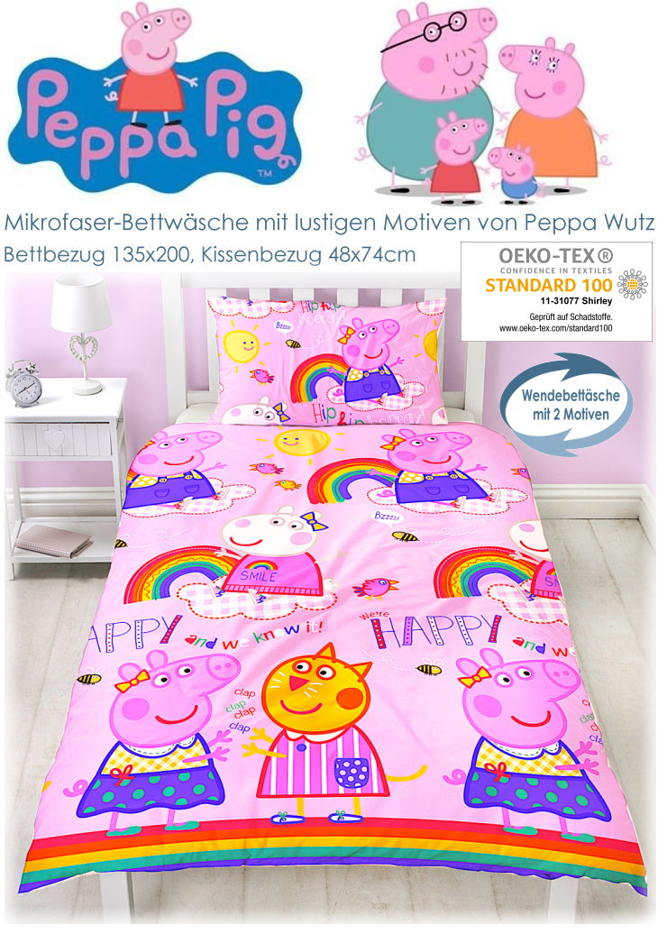 Peppa Wutz Kinderbettwäsche Peppa Pig 092