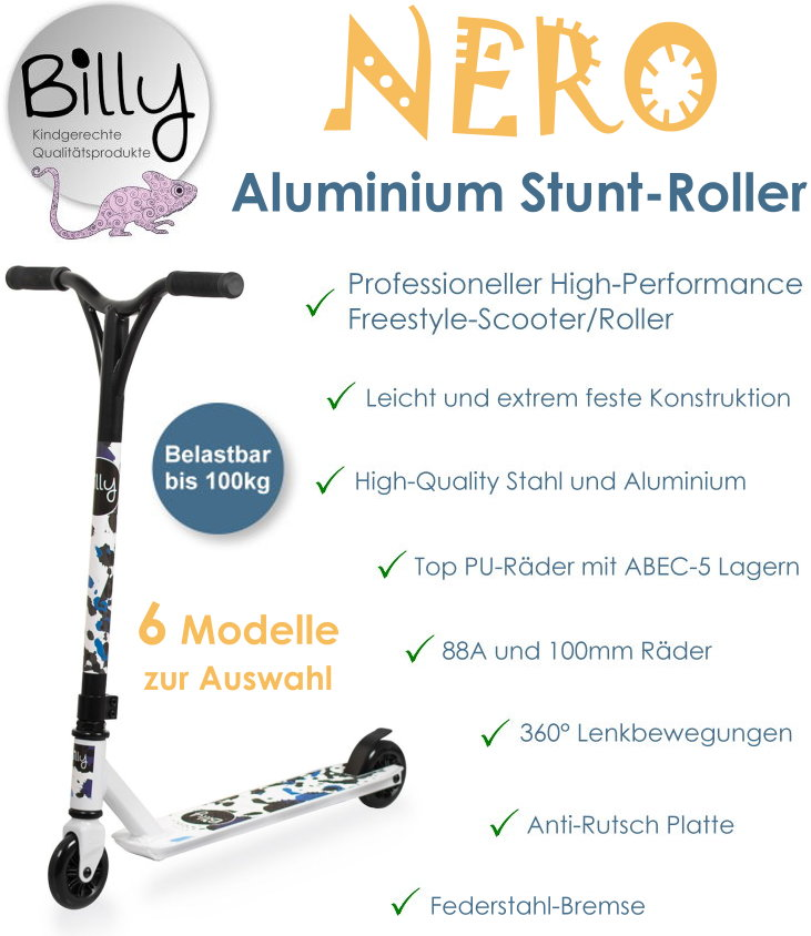 Stunt Roller Stuntscooter Kinder Tretroller Billy Nero