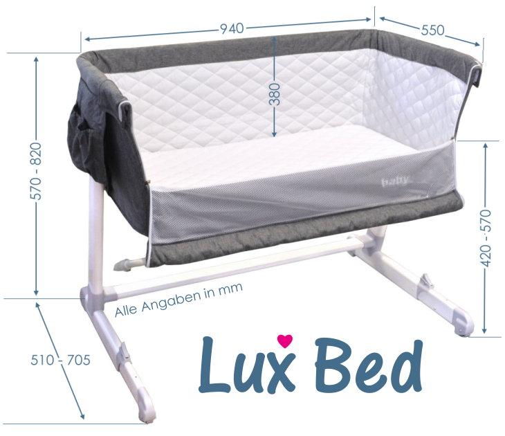 Beistellbett und Reisebett grau Lux Bed