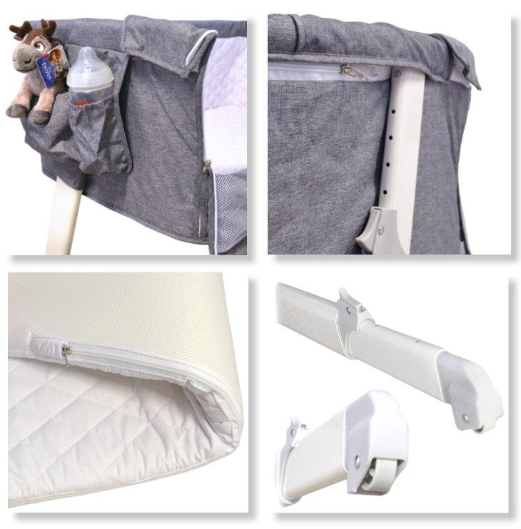 Baby Beistell- und Reisebett grau Lux Bed