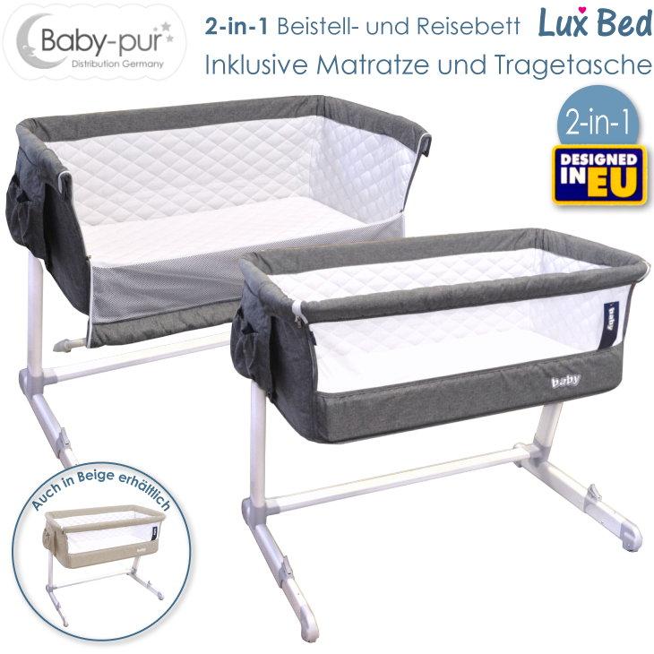Baby-pur Distribution Baby Beistellbett Reisebett Lux Bed grau