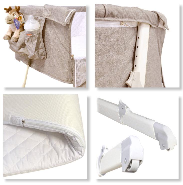 baby beistellbett babybett reisebett stubenwagen matratze verstellbar beige neu ebay. Black Bedroom Furniture Sets. Home Design Ideas