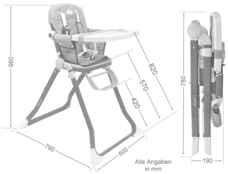 Smart Kinder-Hochstuhl mit abnehmbarer Tischplatte und faltbar
