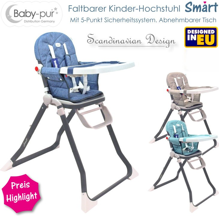 Kinder-Hochstuhl mit und abnehmbarer Tischplatte Smart