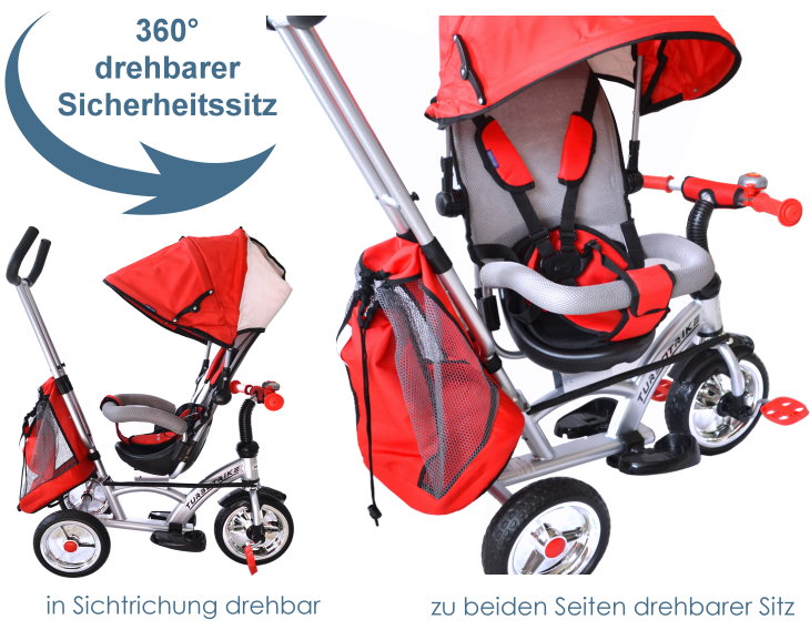 Baby-pur Dreirad mit Schiebevorrichtung