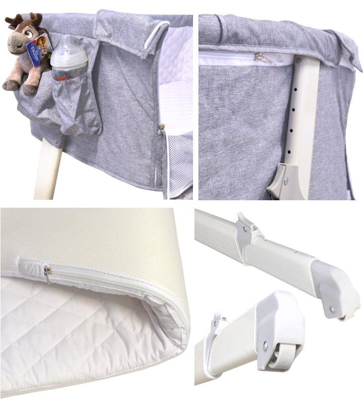 Baby Beistell- und Reisebett hellgrau Lux Bed