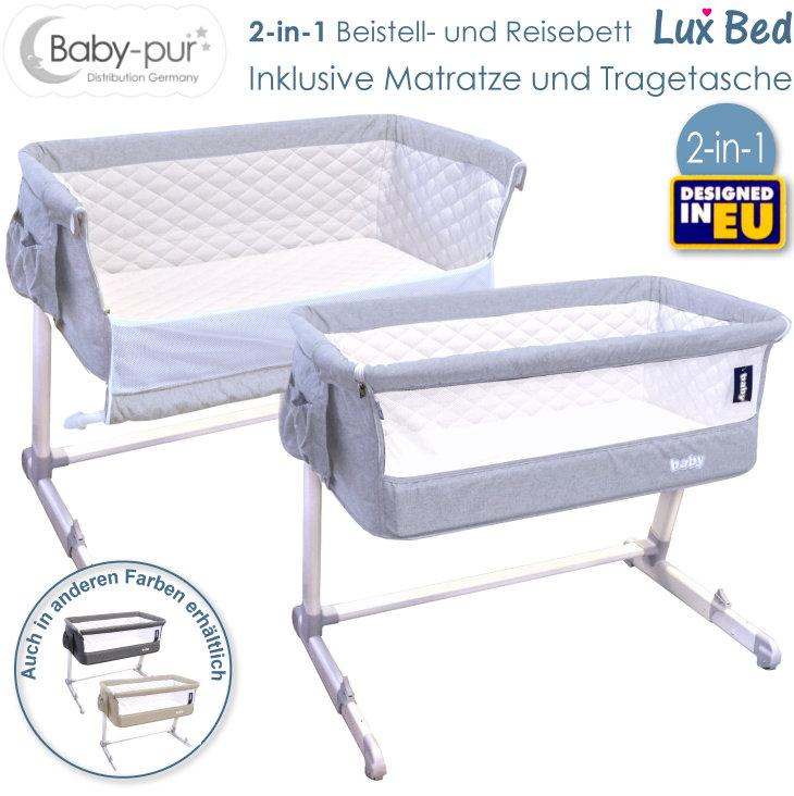 Baby-pur Distribution Baby Beistellbett Reisebett Lux Bed hellgrau