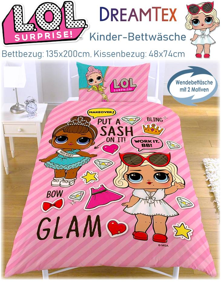 Kinder Bettwäsche LOL Surprise Glam