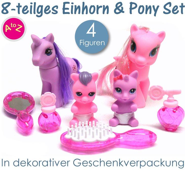 Einhorn und Pony Familie Spielset für Mädchen