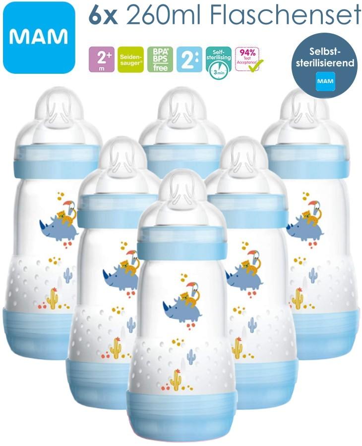 MAM 6 Stück 260ml Babyflaschen