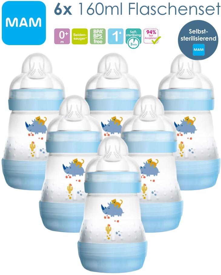 MAM 6 Stück 160ml Babyflaschen blau