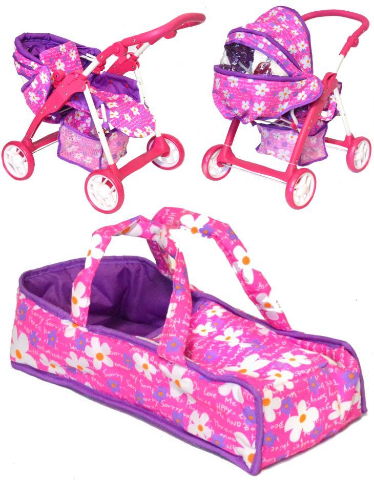 Baby-pur Puppenwagen mit Funktionen Flower