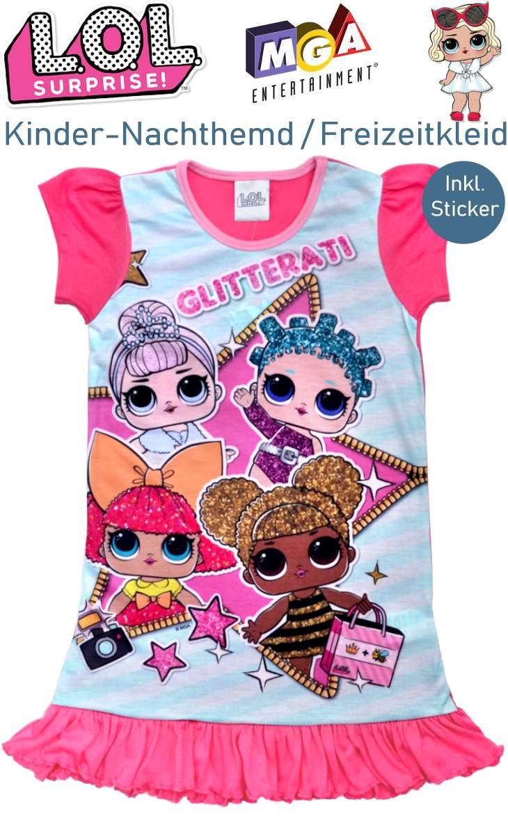 Kinder Bettwäsche LOL Surprise Nachthemd Freizeitkleid Glitterati