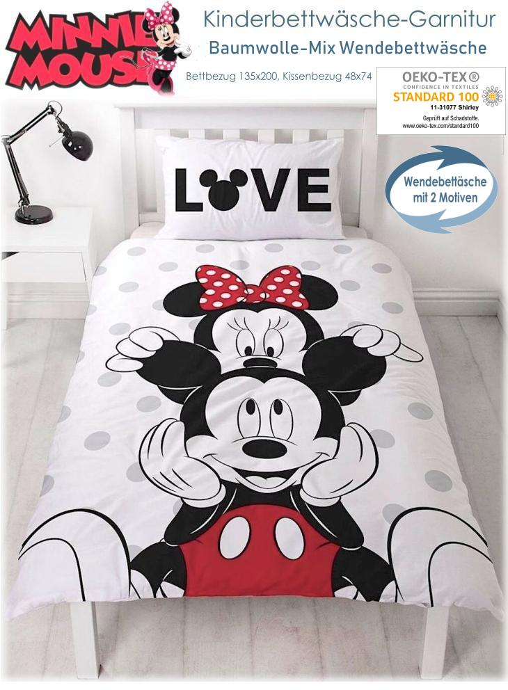 Kinder Bettwäsche Minnie und Mickey Maus