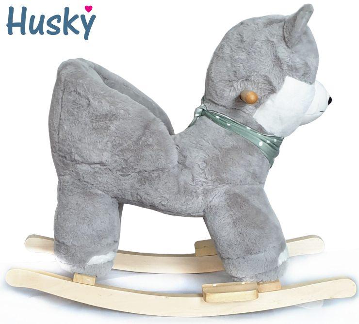 Baby Kleinkind Schaukeltier Hund Husky