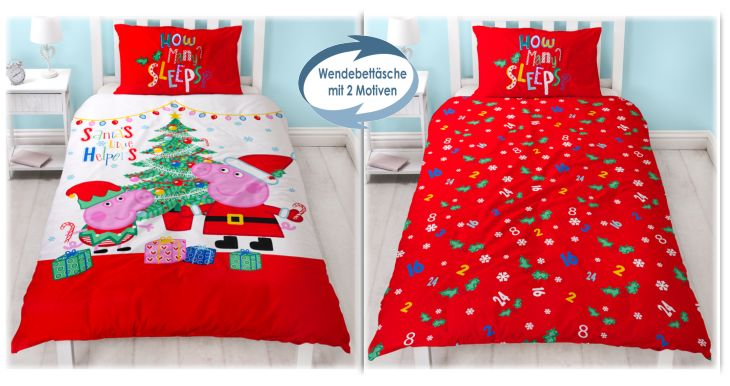 Kinderbettwäsche Peppa Wutz Weihnachten