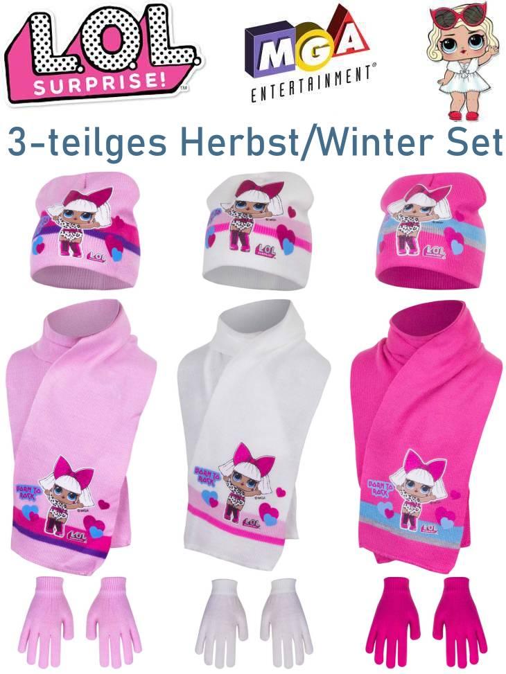LOL Surprise Kinder Mütze Schal Handschuhe