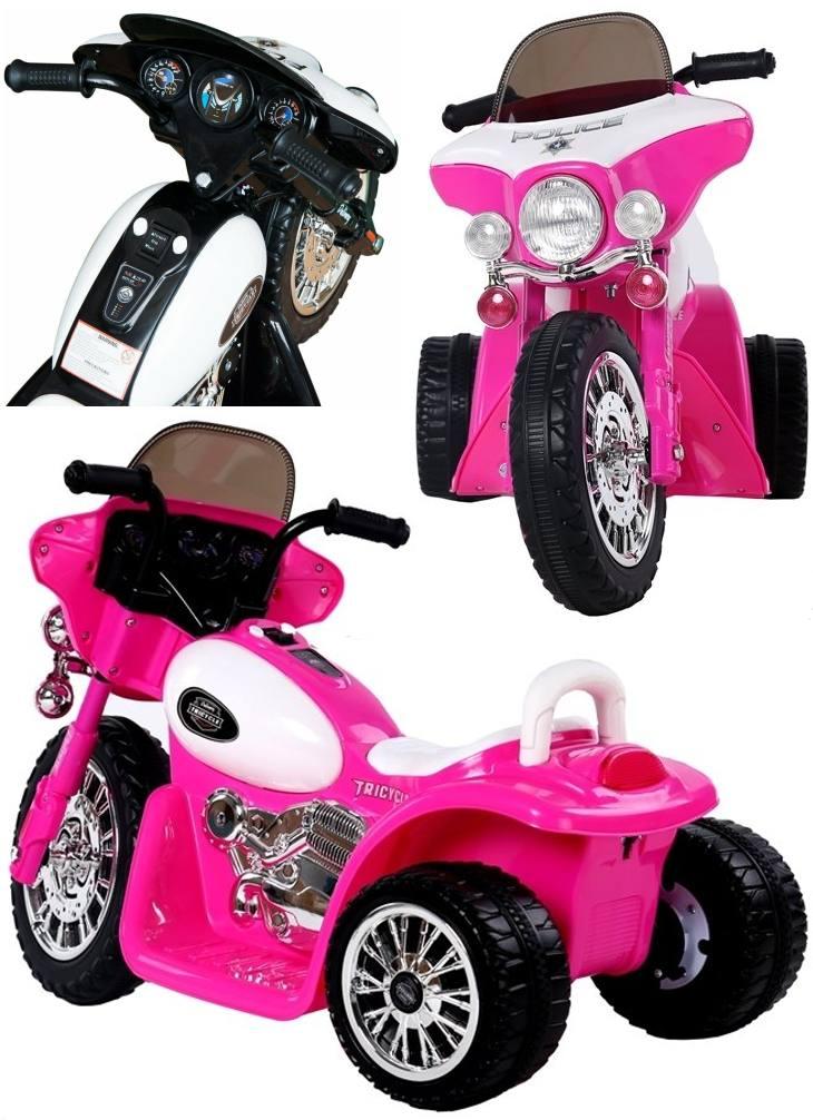 Elektrisches Kinderfahrzeug Elektromotorrad Police-Chopper pink