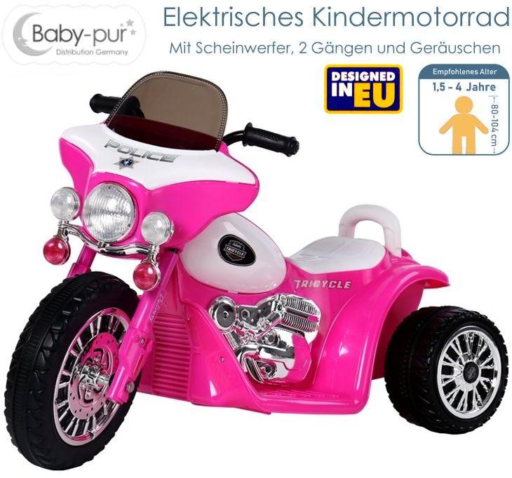 Elektrisches Kinderfahrzeug Elektromotorrad Police-Chopper rosa
