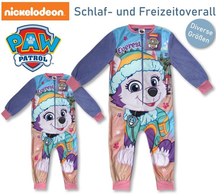 Pyjama PAW Patrol Schlafanzug Overall Strampler Reißverschluss Fleece Blau