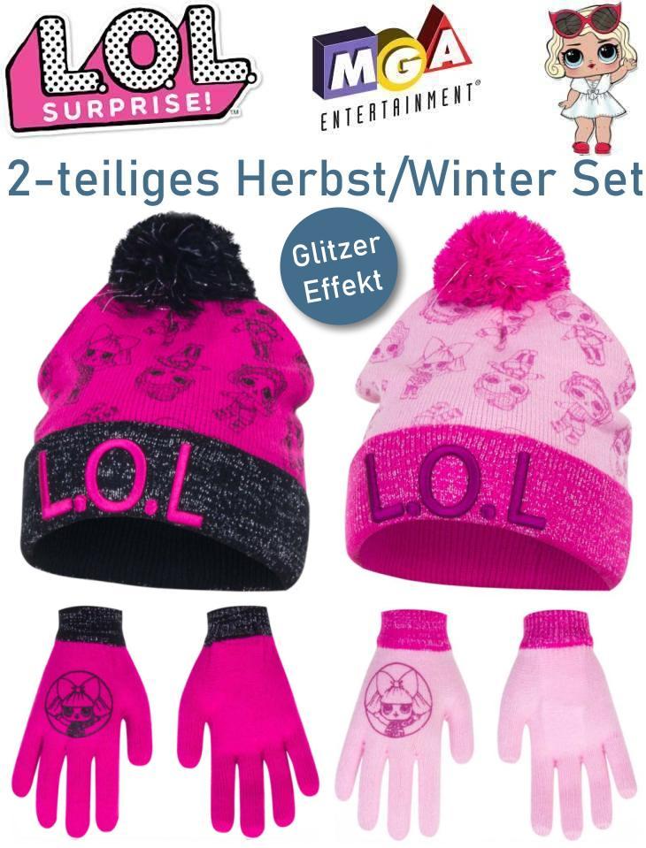 LOL Surprise Kinder Mütze Handschuhe mit Glitzer