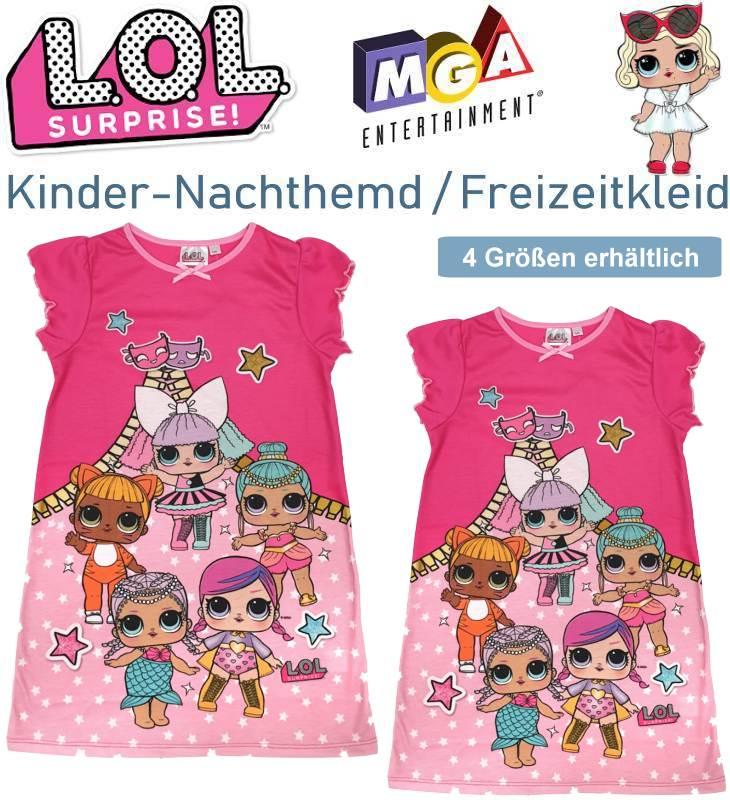 Kinder Bettwäsche LOL Surprise Nachthemd Freizeitkleid