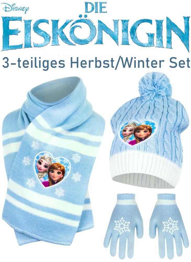 Die Eiskönigin Kinder Mütze Schal Handschuhe