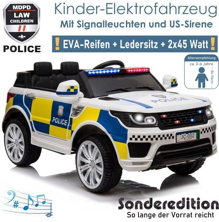 Kinder Elektrofahrzeug Police Polizei Elektroauto SUV weiss