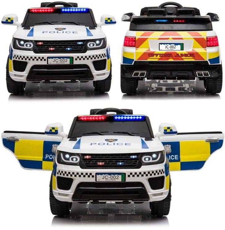 Weisses Kinder Elektrofahrzeug Police Polizei Elektroauto SUV