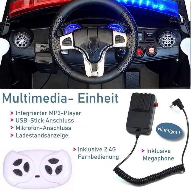 Kinder Elektrofahrzeug SE-Polis Polizei Elektroauto weiss