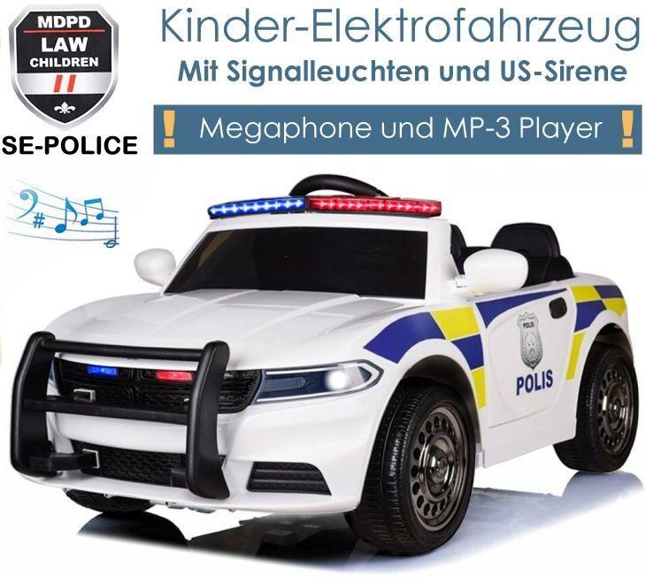 Kinder Elektrofahrzeug Police SE-Polizei Elektroauto weiss