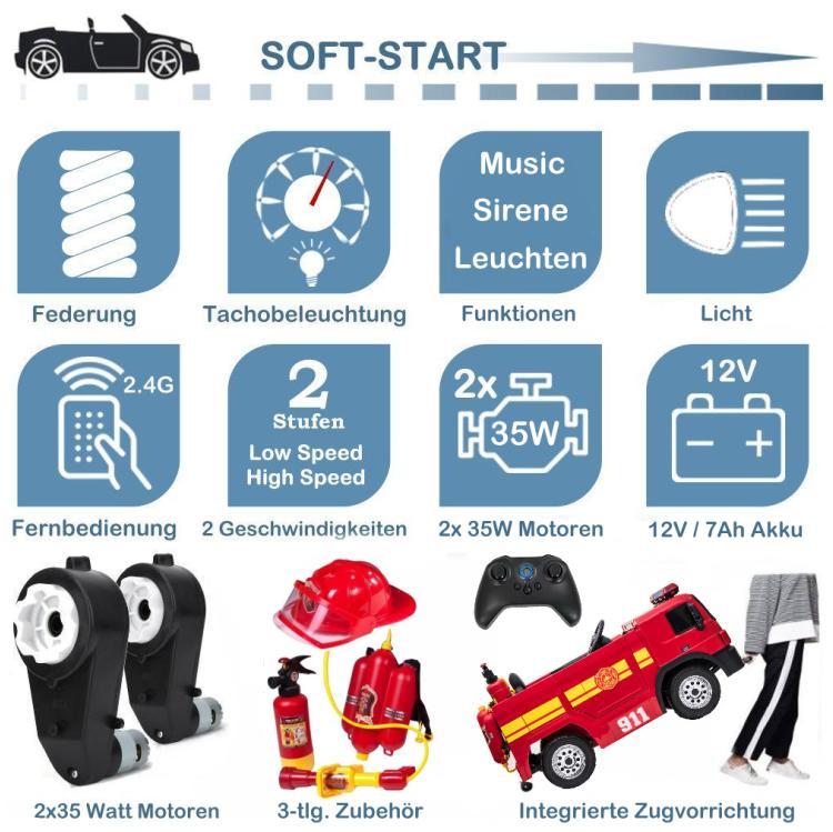 Elektrisches Feuerwehrauto für Kinder