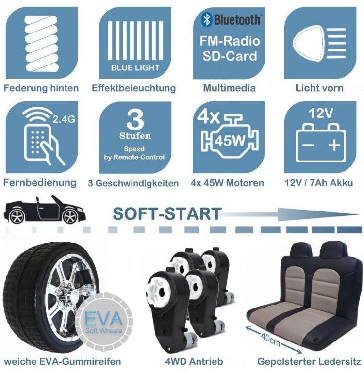 Kinder Elektroauto mit 4x45W Ledersitz und EVA-Rädern Geländewagen