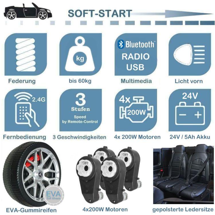 Kinder Elektroauto mit Ledersitz und EVA-Rädern Mercedes G63 Platinum
