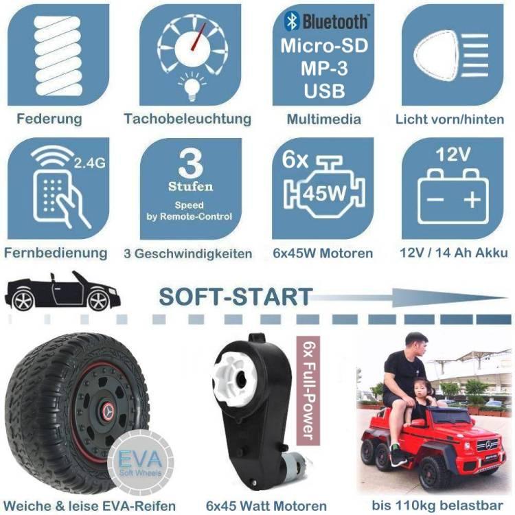 Kinder Elektroauto mit Ledersitz und EVA-Rädern Mercedes G63 6x6 XXL