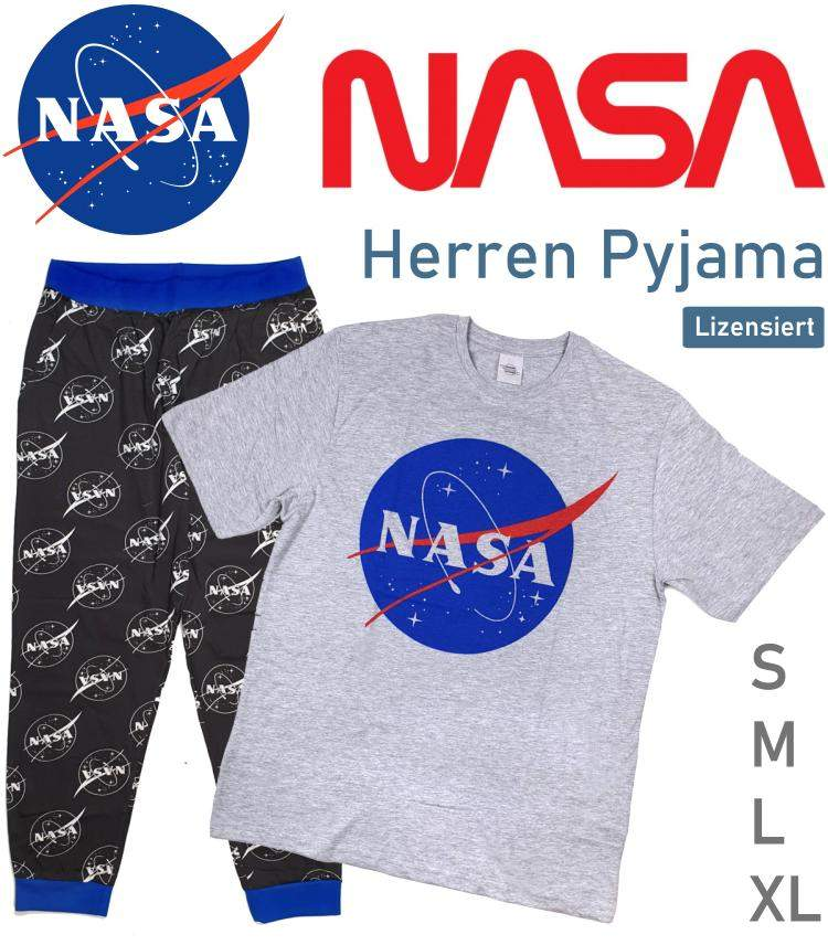 Herren Pyjama Schlafanzug NASA