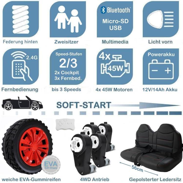 Kinder Elektroauto mit Ledersitz und EVA-Rädern A730-2