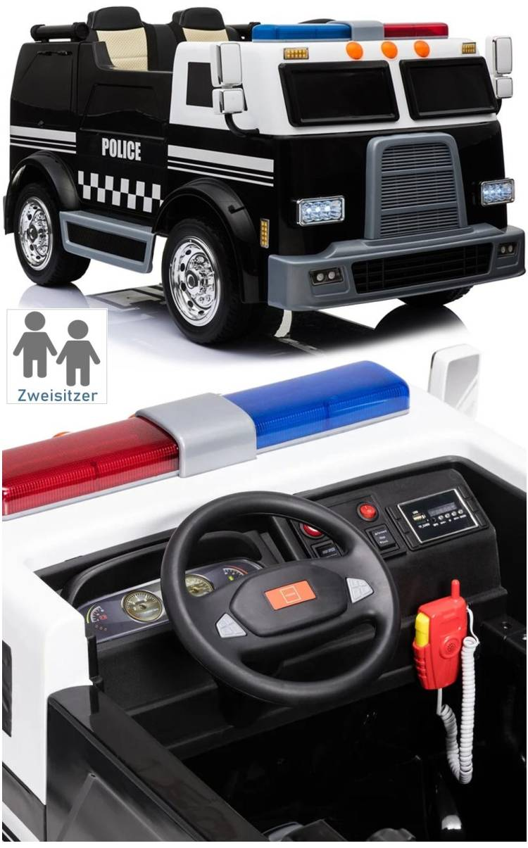 Elektroauto Polizeiauto für Kinder Doppel-Ledersitz
