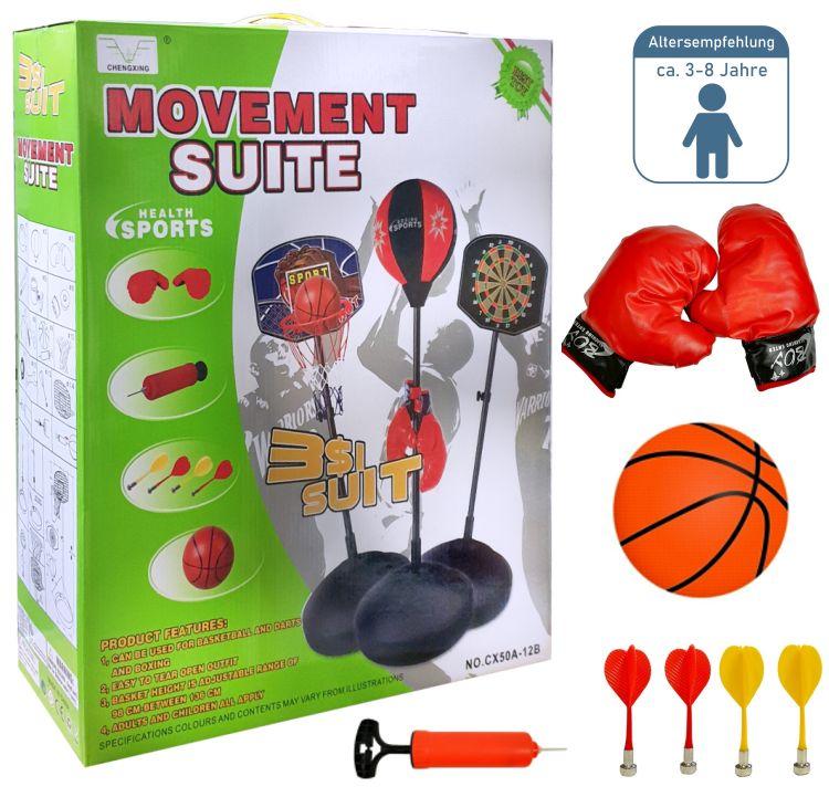 3in1 Kinder Sportset Basketball Boxsack Punchingball Dart 175cm Spielset Zubehör
