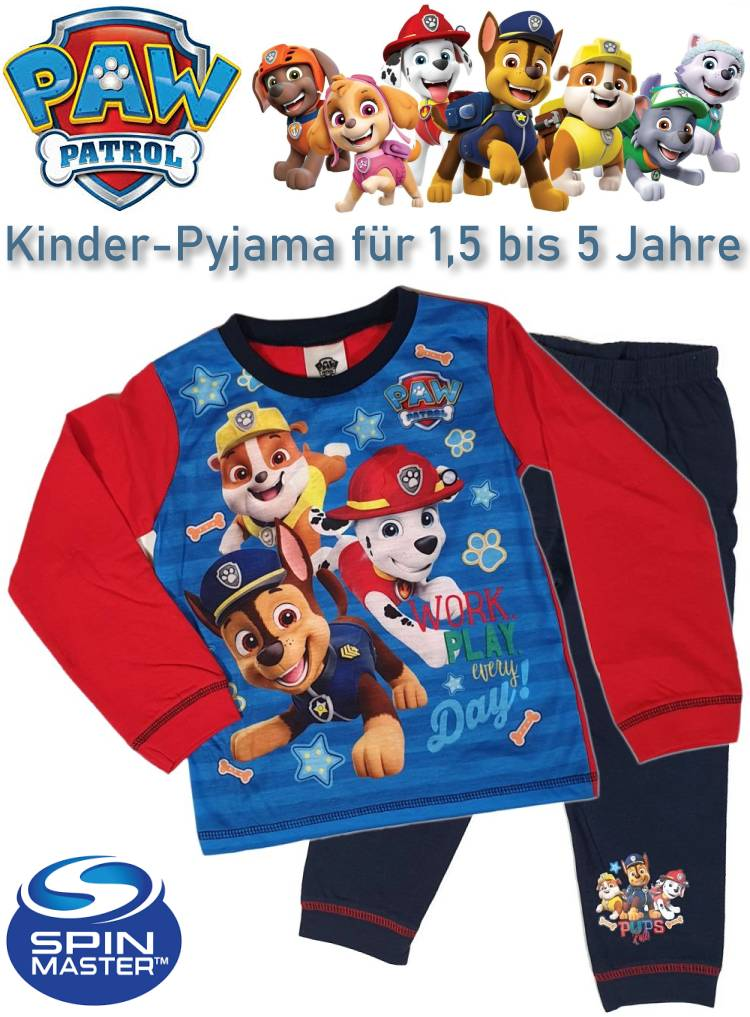 Kinder Schlafoverall Schlafanzug Paw Patrol Work day every day