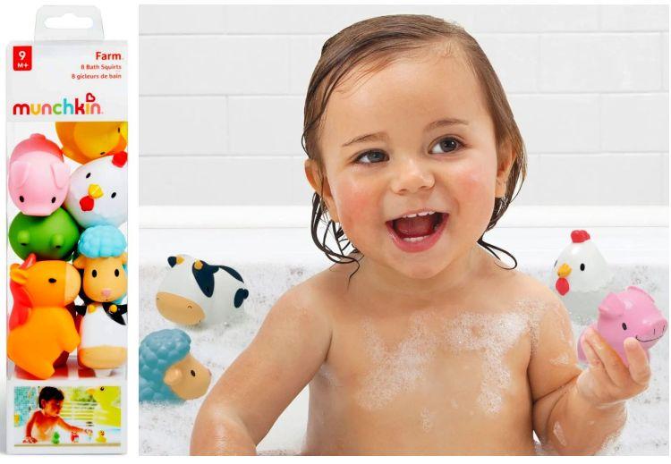 Bauernhof Badespielzeug für Baby Kleinkind 8 Stück Bade-Spritztiere
