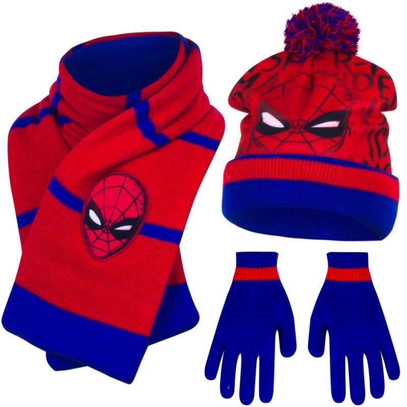 Marvel Spiderman Kinderset Mütze Schal Handschuhe