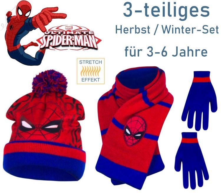 Spiderman Kinder Mütze Schal Handschuhe
